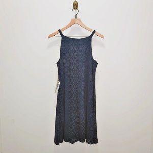 Luxology Navy Lace Sleeveless Stretch Skater Dress